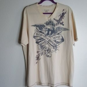 DKNY cream & Gray v neck eagle t shirt size XL